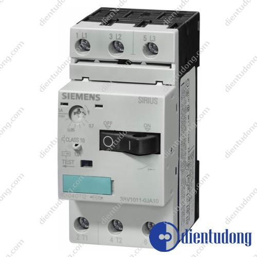 CIRCUIT-BREAKER SIZE S00, FOR MOTOR PROTECTION, CLASS 10, A-REL. 7...10A, N- REL. 130A, SCREW TERMINAL, STANDARD SWITCHING CAPACITY, W. TRANSV. AUX. SWITCH 1NO/1NC