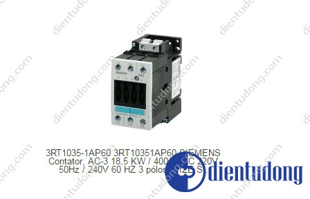 CONTACTOR, AC-3 18,5 KW/400 V, AC 220V 50HZ/240V 60HZ 3-POLE, SIZE S2, SCREW CONNECTION