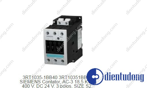 CONTACTOR, AC-3 18.5 KW/400 V, DC 24 V, 3-POLE, SIZE S2, SCREW CONNECTION
